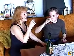 Young guy enjoys his dick being treated nice by a drunk old whore