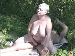 Banging neighbor's wife outdoors