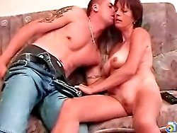 Mature slut makes her sweet lover fuck her pussy and then she sucks his young hard dick till the last drop
