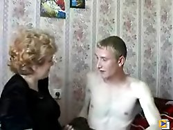 Old juicy whore shows to a sweet guy some of the old school dirty sex tricks and share with him her huge experience