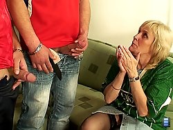 Hot grandma with nice titties sucks and gets fucked by young men that want her so badly